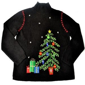 Christmas Tree With Jingle Bells Sweater Size L
